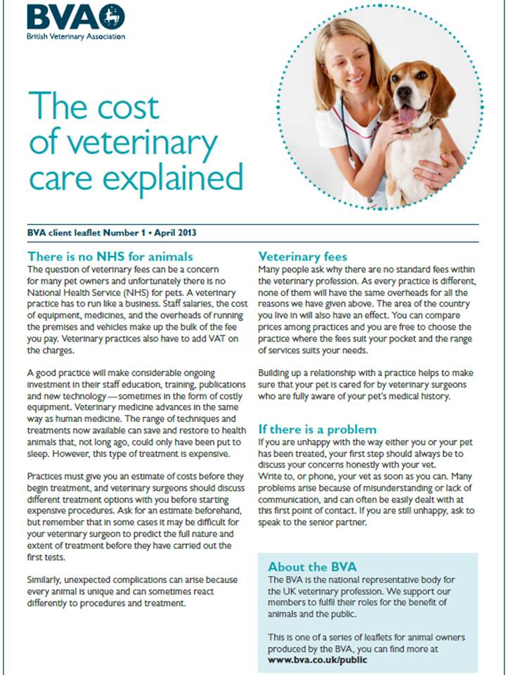 BVA - Cost of Veterinary Care Explained
